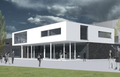 koncepcja hali BizeA obejmująca zakład produkcyjny wraz z magazynem i budynkiem biurowym