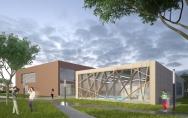 Gminny Ośrodek Kultury w Przecławiu - widok od strony parku z koncepcji szczecińskiej Pracowni Projektowej DEKTON Marzena Jaroszek