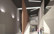 Gminny Ośrodek Kultury w Przecławiu - widok wnętrza od strony wejścia z koncepcji szczecińskiej Pracowni Projektowej DEKTON Marzena Jaroszek